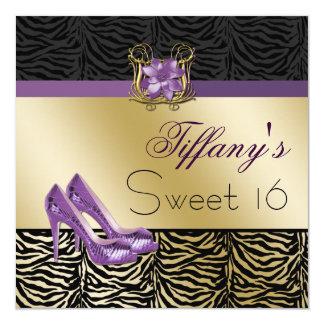 invitations pourpres de partie de sweet sixteen