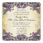 Invitations pourpres et vertes de mariage de paon