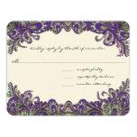 Invitations pourpres et vertes de mariage de paon carton d'invitation 10,79 cm x 13,97 cm