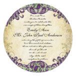 Invitations pourpres et vertes de mariage de paon carton d'invitation  13,33 cm
