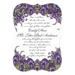 Invitations pourpres et vertes de mariage de paon carton d'invitation  12,7 cm x 17,78 cm