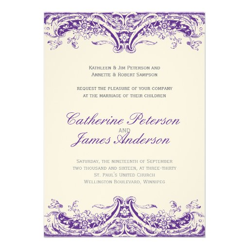 Invitations pourpres vintages de mariage