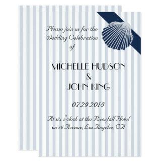 Invitations rayées de mariage de coquillage