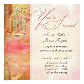 Invitations romantiques molles de mariage de cage carton d'invitation  13,33 cm