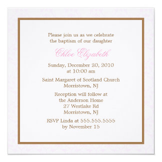 Invitations roses de baptême de damassé