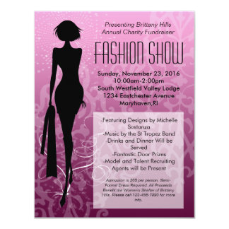 Invitations roses de défilé de mode de silhouette
