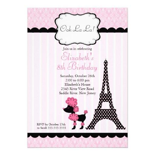 Invitations roses de fête d'anniversaire de canich