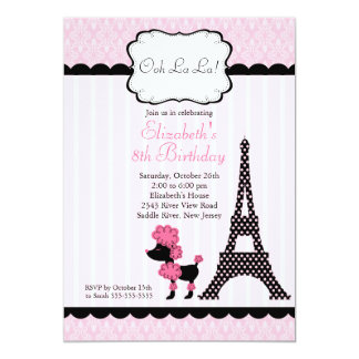 Invitations roses de fête d'anniversaire de carton d'invitation  12,7 cm x 17,78 cm