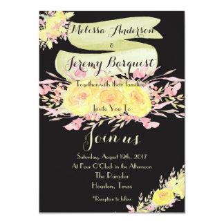 Invitations roses de mariage d'aquarelle jaune