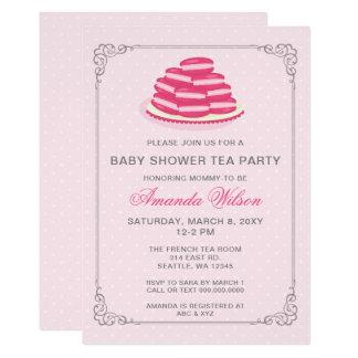 Invitations roses de thé de baby shower de Macaron