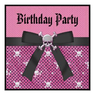 Invitations roses Girly d'anniversaire de crânes