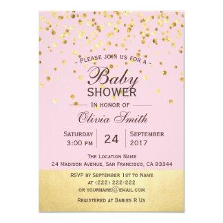 Invitations roses personnalisés mignons de baby