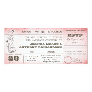 invitations roses vintages de carte d'embarquement