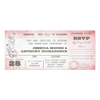 invitations roses vintages de carte d'embarquement carton d'invitation  10,16 cm x 23,49 cm