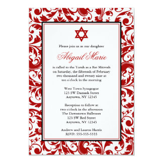 Invitations rouges de bat mitzvah de damassé de