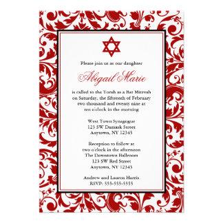 Invitations rouges de bat mitzvah de damassé de re