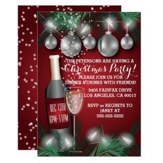 Invitations rouges de dîner de vacances de Noël