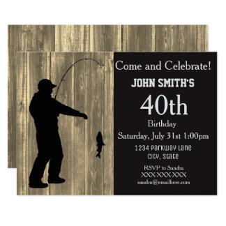 Invitations rustiques d'anniversaire de pêche de