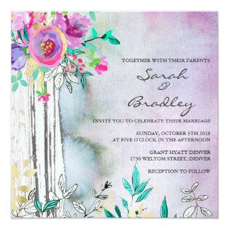 Invitations rustiques de mariage d'aquarelle de