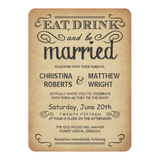 Invitations rustiques de mariage de style de