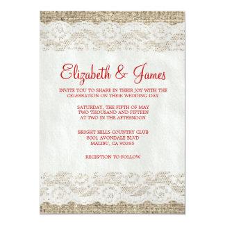 Invitations rustiques rouges et blanches de