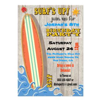 Invitations surfantes de fête d anniversaire