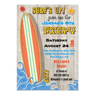 Invitations surfantes de fête d'anniversaire