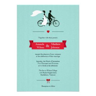 Invitations tandem de mariage d'Aqua de bicyclette