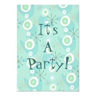 Invitations trop mignonnes bleues/rétros motif de