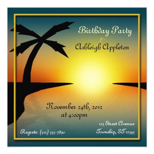 Invitations tropicales d'anniversaire de palmier d