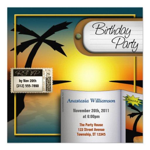 Invitations tropicales de fête d'anniversaire de c