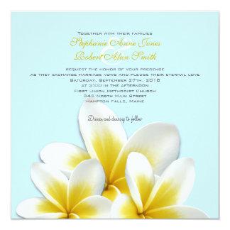 Invitations tropicales de mariage de Frangipani de