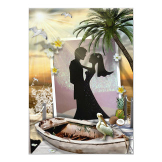 Invitations tropicales de mariage de plage