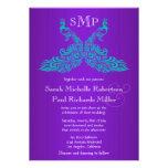 Invitations turquoises et pourpres de mariage de p