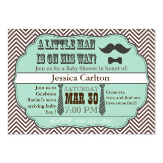 Invitations vertes de baby shower de moustache et