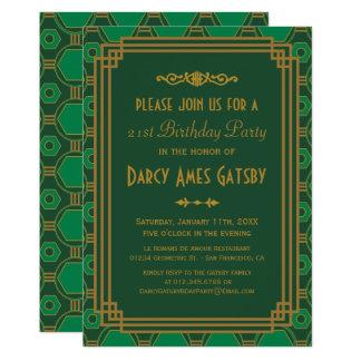 Invitations vertes de fête d'anniversaire d'art