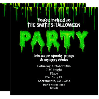 Invitations vertes de partie de Halloween