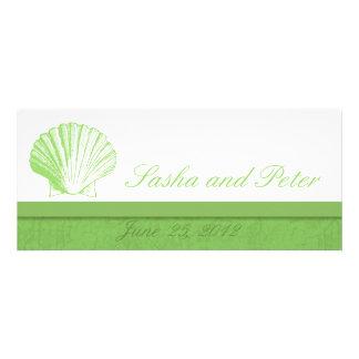 Invitations vertes en verre de mariage de plage de