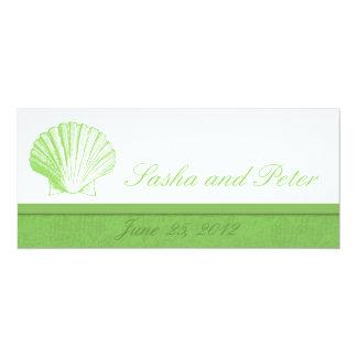 Invitations vertes en verre de mariage de plage de carton d'invitation  10,16 cm x 23,49 cm