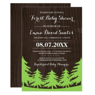 Invitations verts de baby shower de forêt en bois