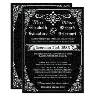Invitations victoriennes gothiques noires de