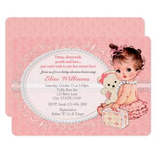 Invitations vintages 2 de baby shower de filles
