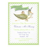 Invitations vintages de baby shower de cigogne de