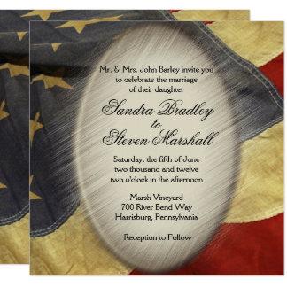 Invitations vintages de mariage de drapeau