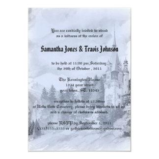 Invitations vintages de mariage de Goth de château