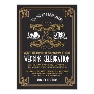 Invitations vintages de mariage de noir et d'or