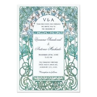 Invitations vintages de mariage de Nouveau d'art Carton D'invitation 12,7 Cm X 17,78 Cm