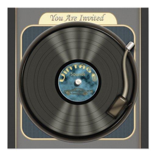 Invitations vintages de partie de disque vinyle
