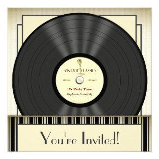Invitations vintages de partie de disque vinyle de
