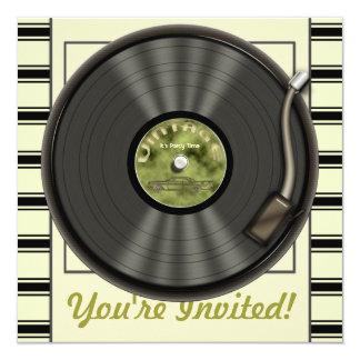 Invitations vintages de partie de disque vinyle carton d'invitation  13,33 cm